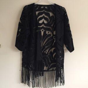 Zara Fringe Black Kimono